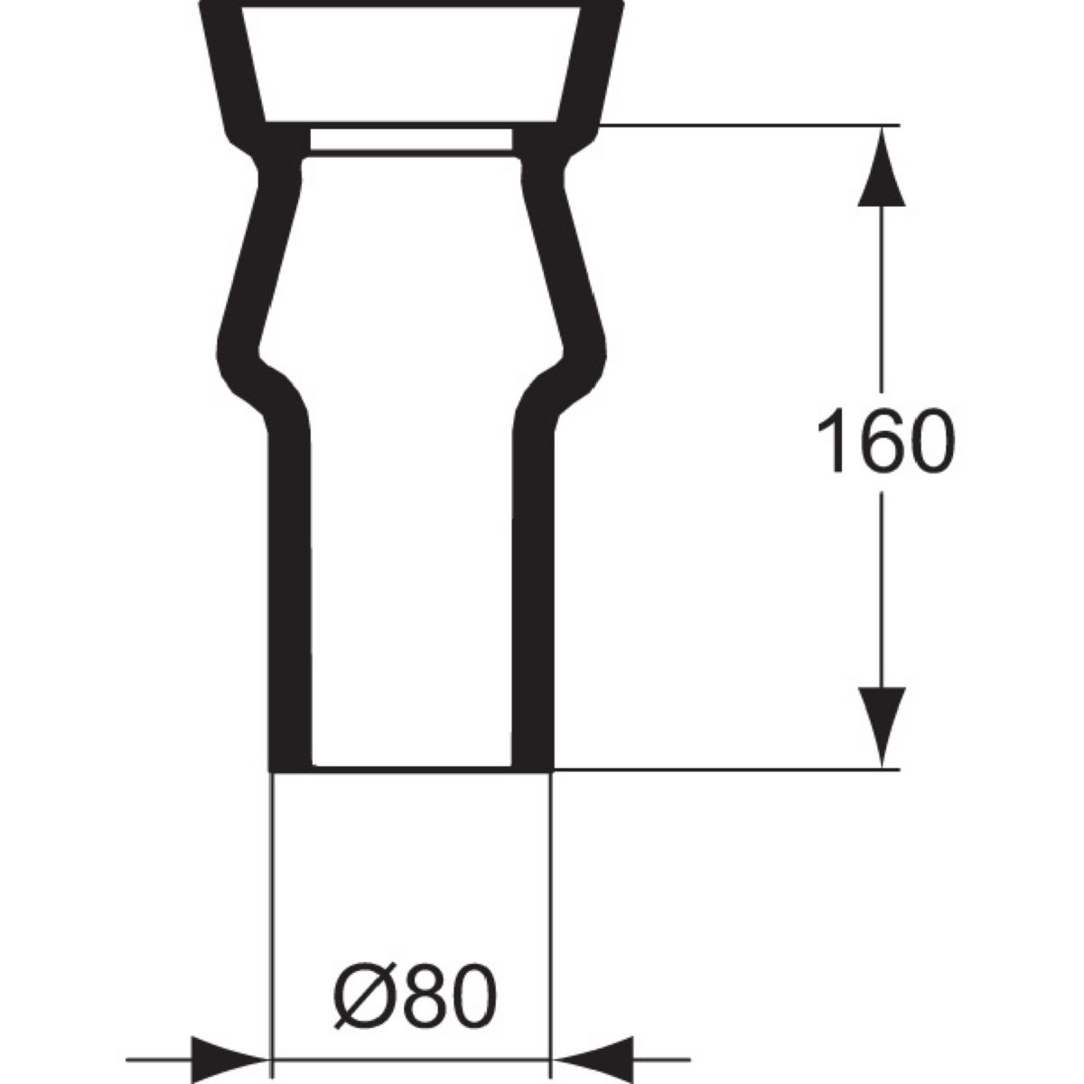 Tubulure spéciale ASPIRAMBO pipe courte, grès blanc réf. P286101