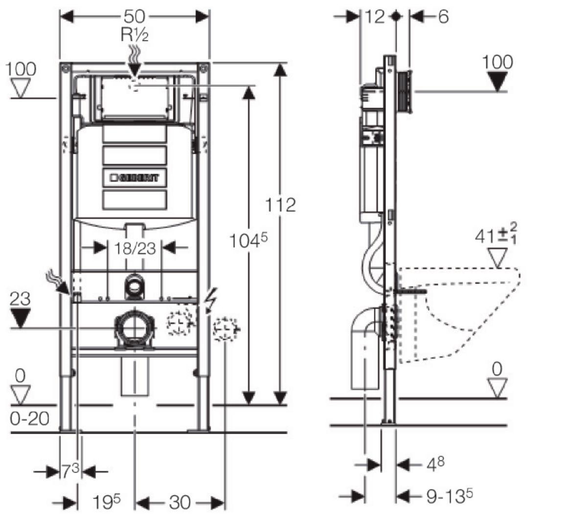 Largeur Wc Suspendu Geberit bâti-support applique duofix plus up320 h : 112 cm réf. 111303005