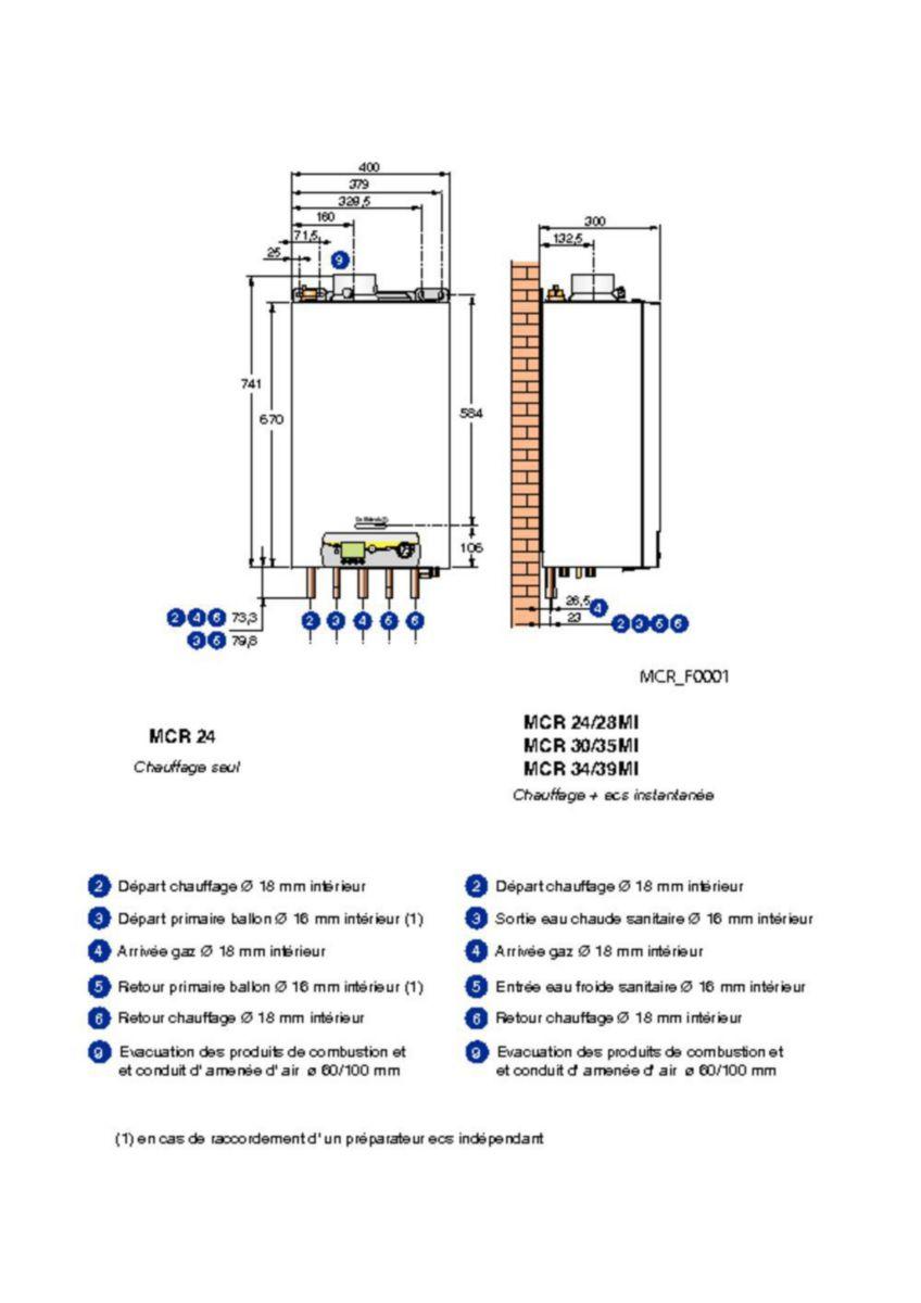 Chaudière murale gaz à condensation MCR 30 / 35 MI PLUS Colis HG130 / Classe énergétique A/A réf. 7625482