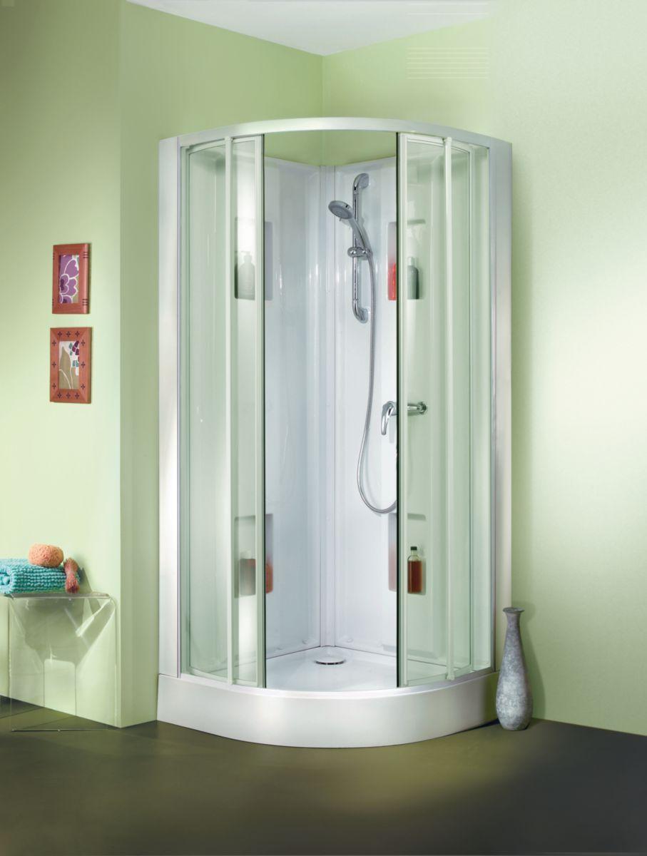 Cabine de douche IZIBOX quart de rond 90x90cm, installation en angle ...