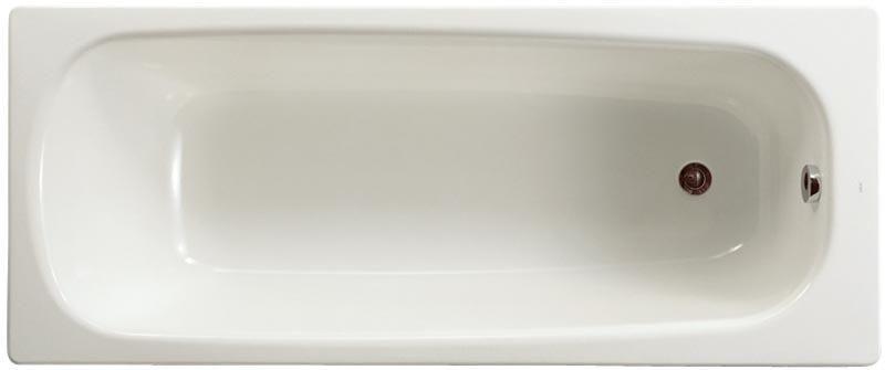 Baignoire CONTESA 170x70cm, en acier émaillé (épaisseur 1,5mm), bord plat, percée 1 trou D35mm, avec pieds métal à visser, fond lisse, blanc