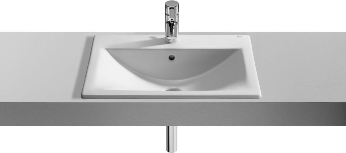 Vasque à encastrer DIVERTA 55 x 42,5 cm avec plage pour robinetterie, blanche Réf. A327116000