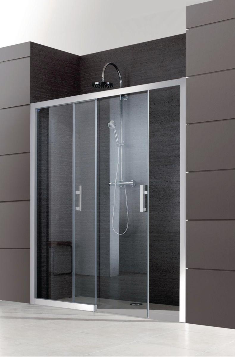 paroi de douche avec ouvrant jazz 2 vantaux coulissants 140cm sans seuil verre transparent. Black Bedroom Furniture Sets. Home Design Ideas