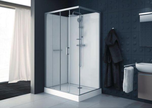 Cabine de douche Kara rectangle 120x80 porte coulissante 2 volets face verre transparent avantage blanc