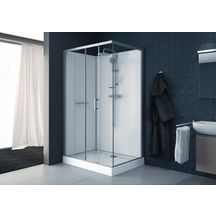 Cabine de douche Kara rectangle 120x80 porte coulissante 2 volets face verre transparent avantage blanc Réf. L11KA4R0801