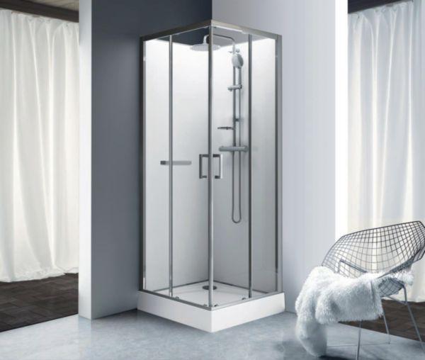 Cabine de douche Kara carre 90 porte coulissante verre transparent avantage blanc