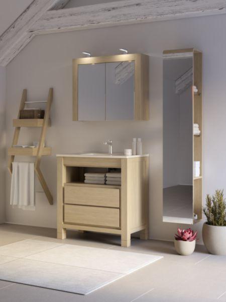 Meuble salle de bain HEMISPHERE NORD chêne naturel 80 cm