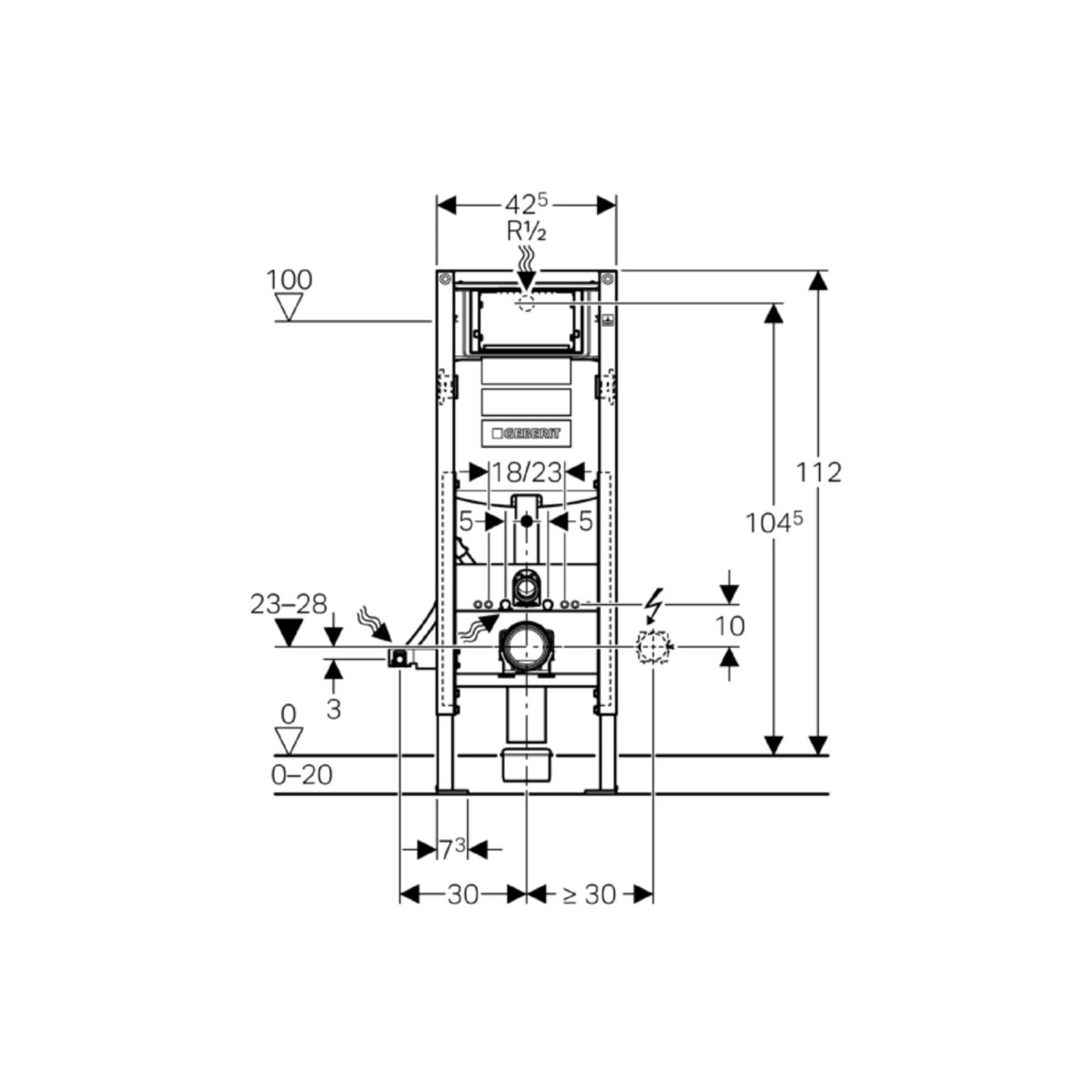 Largeur Wc Suspendu Geberit bâti-support duofix up320 largeur réduite 42,5 cm réf. 111350005