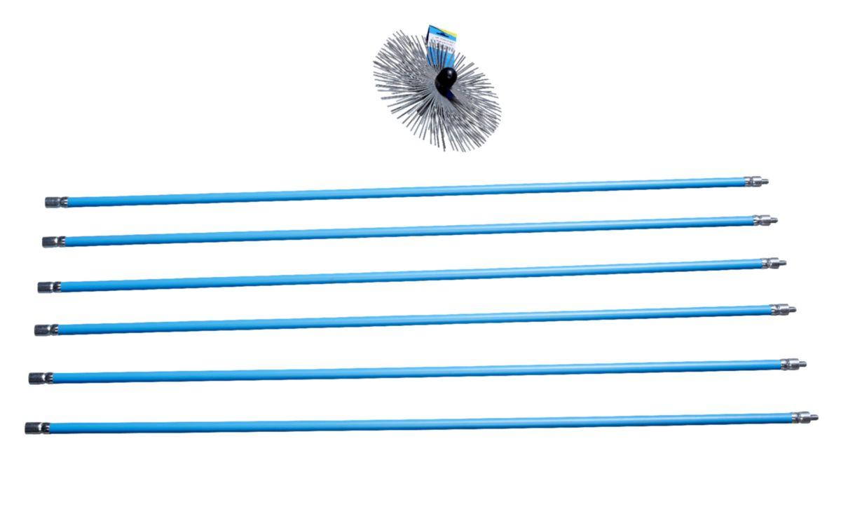 Kit ramonage bleu 6 cannes 1,50 mètres + hérisson acier carré 250mm Réf 1587