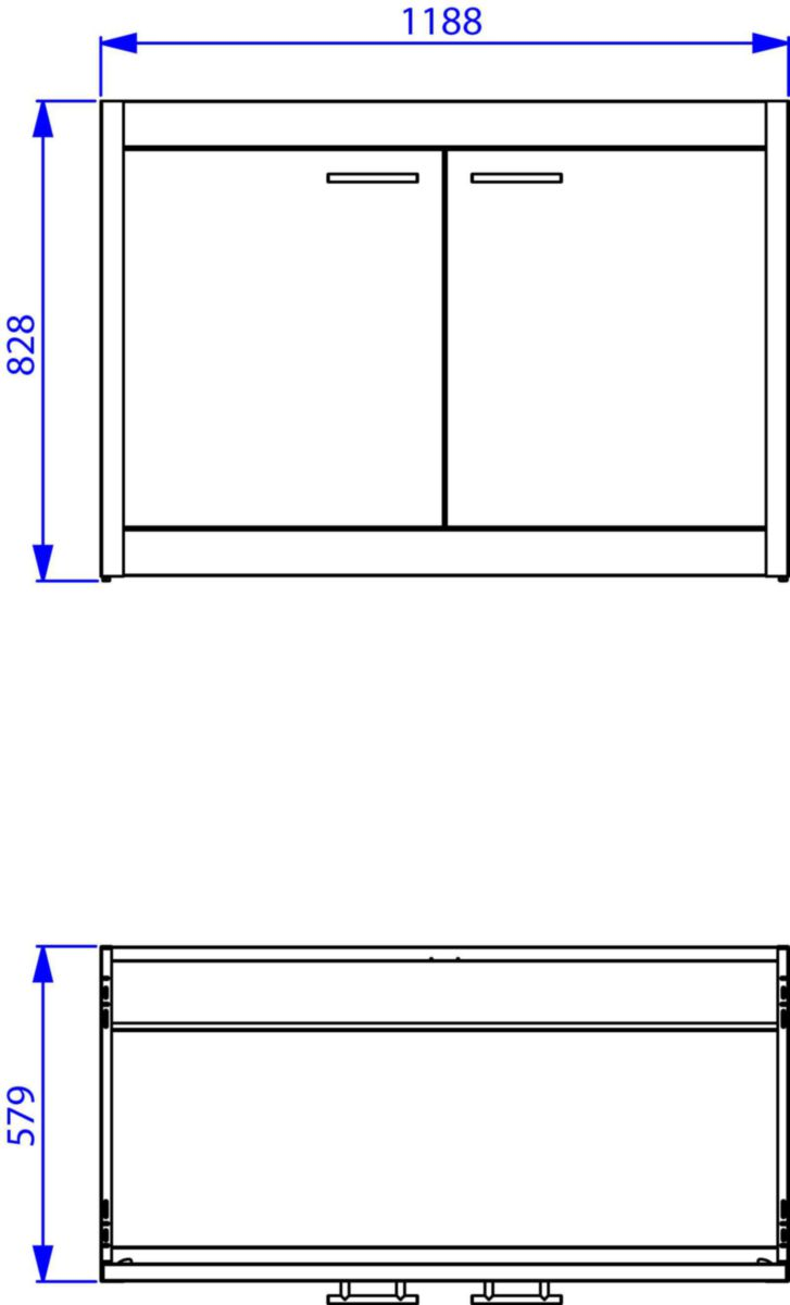 Caisson (sans porte) en métal thermo-laqué Glacier, 1 étagère, butée aimantée pour fermeture des portes. réf. ABMV121Z00