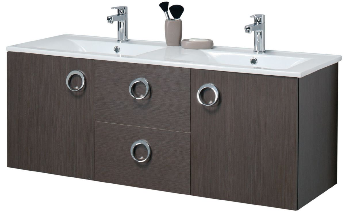 Meuble sous-vasque SEDUCTA 120 cm, 2 portes, 2 tiroirs, gris perle ...