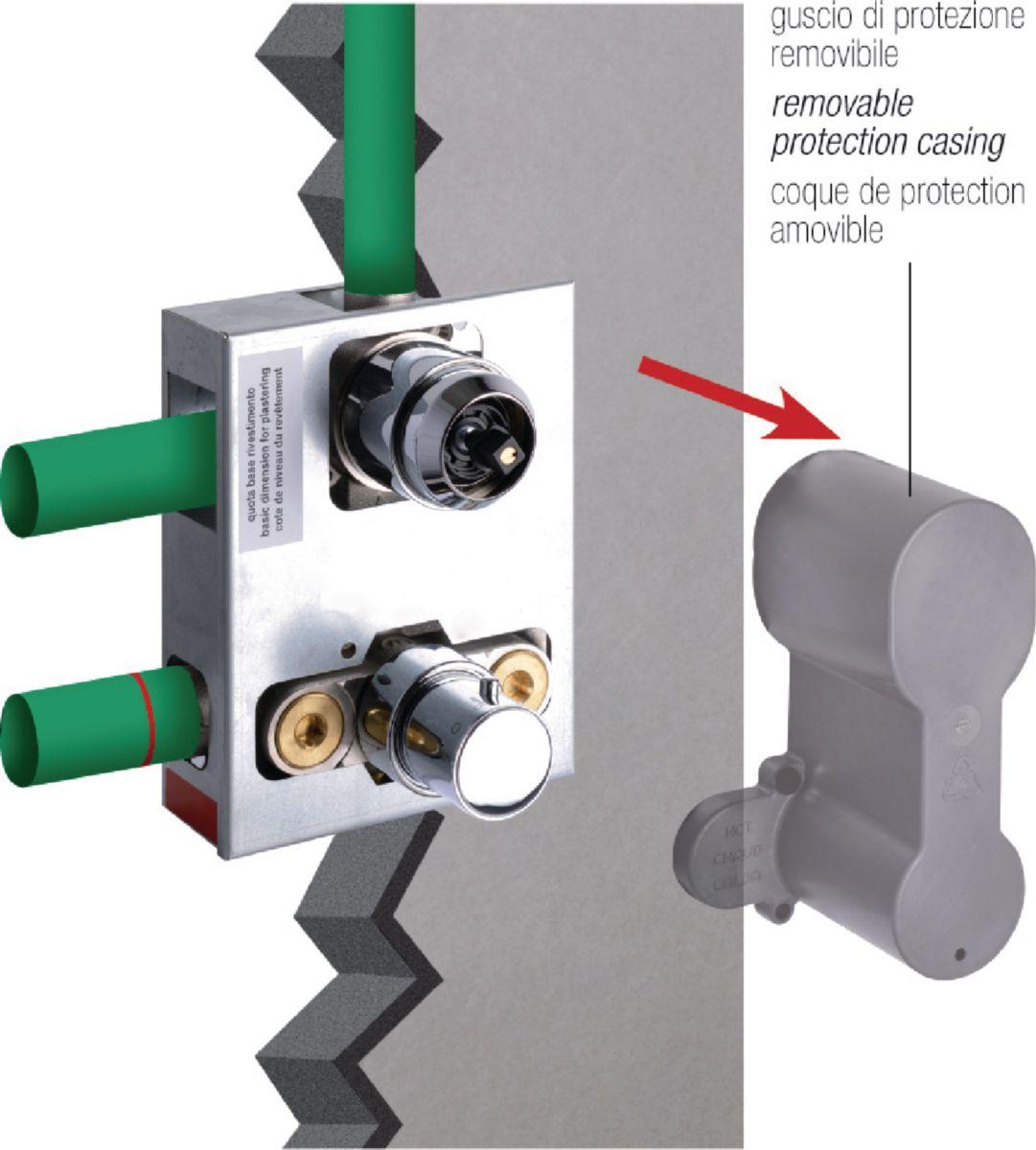 Ensemble thermostatique 2 voies encastré avec corps d'encastrement et coude de sortie pour douchette