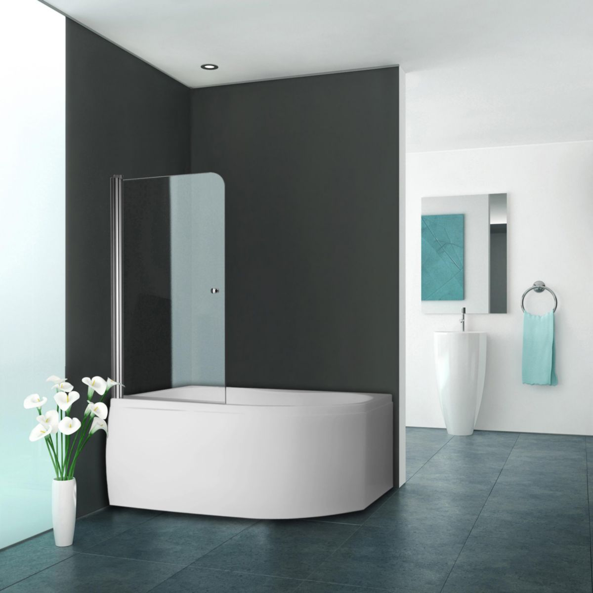 paroi de baignoire 1 lment pivotant srie equi largeur 800 mm hauteur 1400 mm profil argent poli verre clair trait anticalcaire pa rothalux - Cloison Verre Salle De Bain