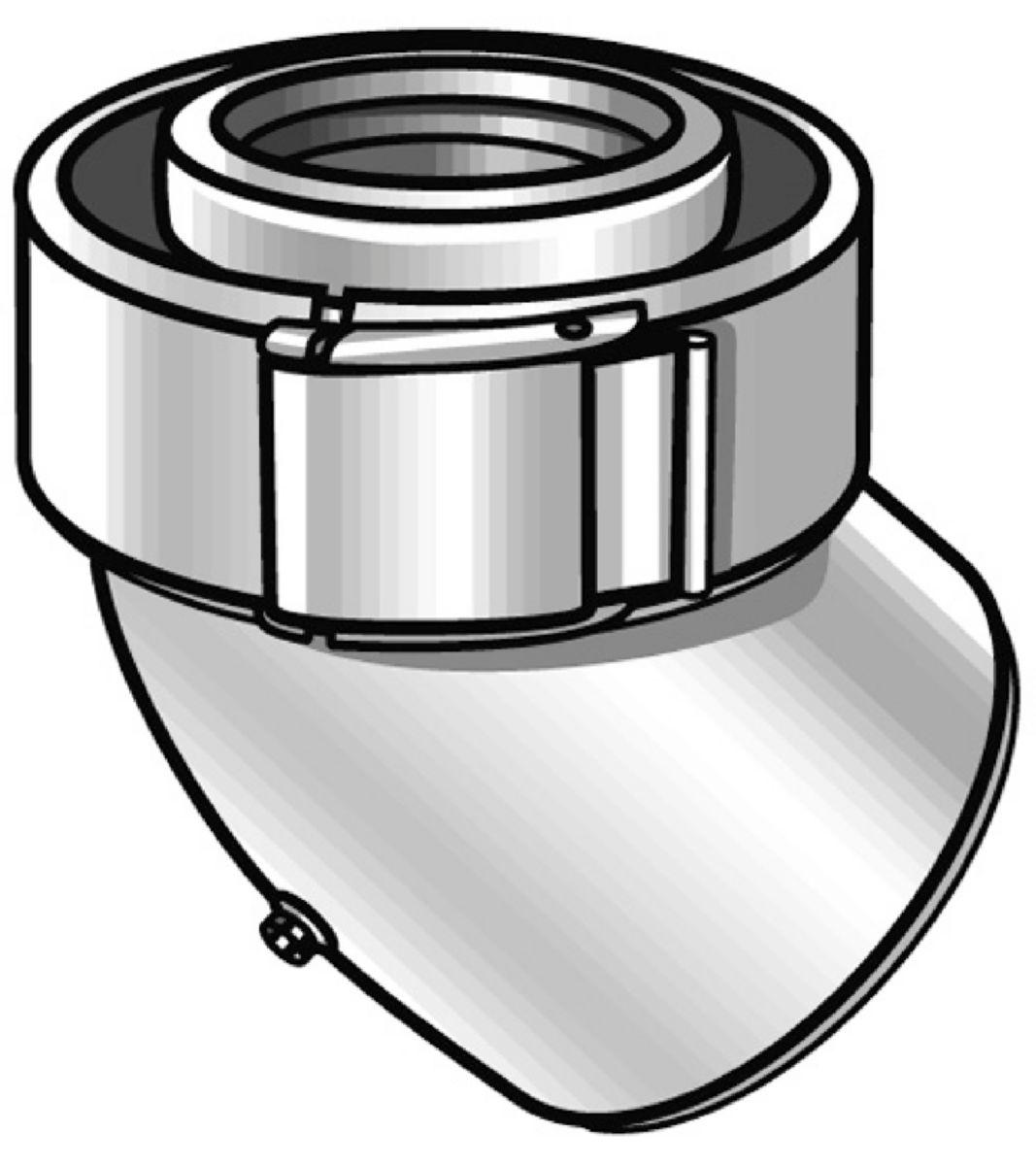Coude 45° en aluminium et PVC diamètre 60 / 100 système collier réf. 227201