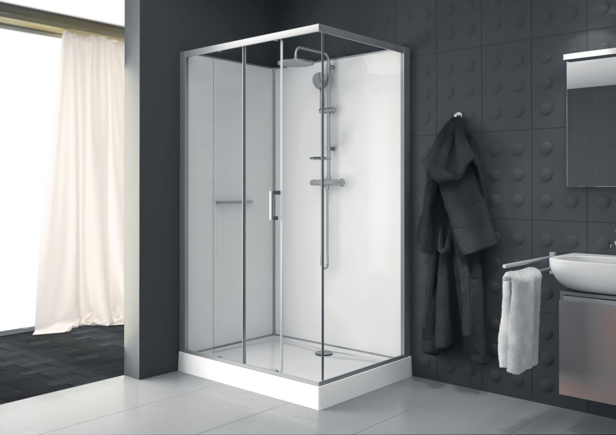 Leda Cabine Rectangle Kara 120 X 90 Cm Porte Coulissante 2 Vantaux Acces De Face Verre Transparent Avantage Fond Blanc Ref L11ka8r0901 Cedeo