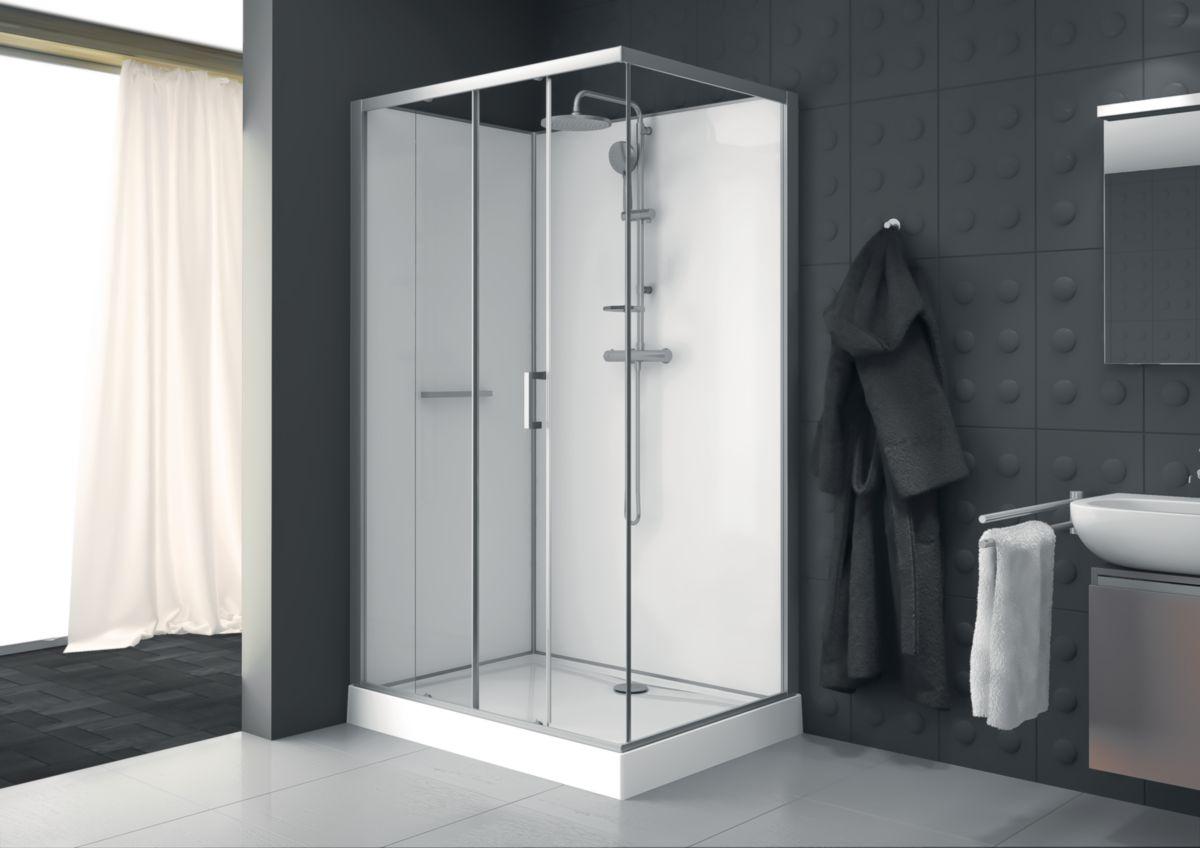Cabine rectangle KARA 120 X 90 cm, porte coulissante 2 vantaux, accès de face, verre transparent AVANTAGE, fond blanc réf. L11KA8R0901