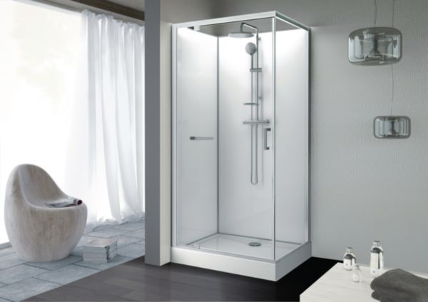 Cabine rectangle KARA 120 X 80 cm, porte pivotante, verre transparent AVANTAGE, fond blanc réf. L11KA8R0601