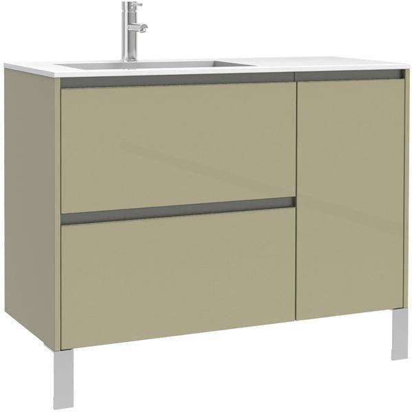 Meuble sous-vasque PLENITUDE 105 cm 2 tiroirs 1 porte pour vasque gauche profondeur 38 cm Argile, poignée noire