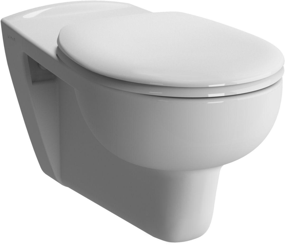 Marque De Toilette Suspendue cuvette wc suspendue allongée mobilita 70 cm en céramique blanc sans  abattant
