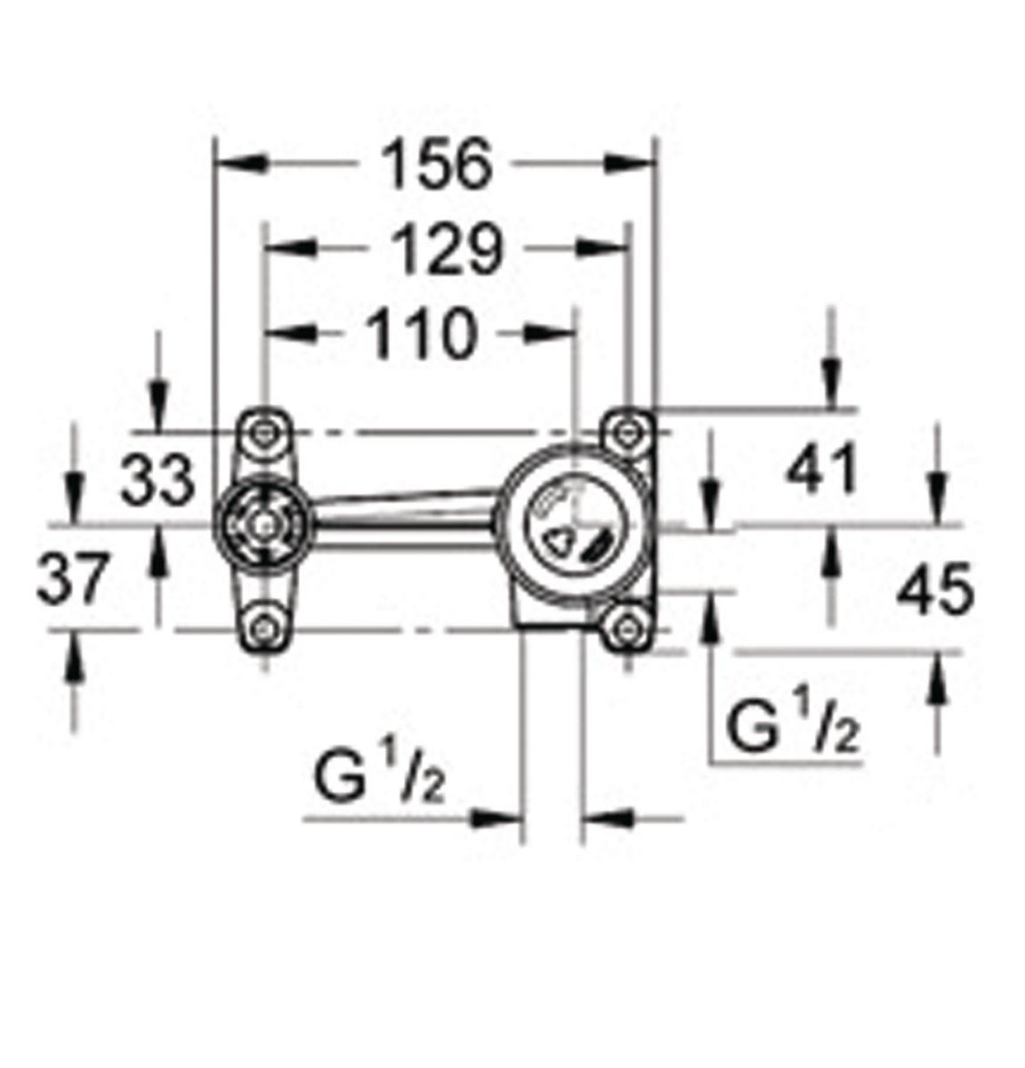 Corps encastré TENSO pour mitigeur monocommande 15 x 21, sortie latérale gauche (bec) réf. 33769000