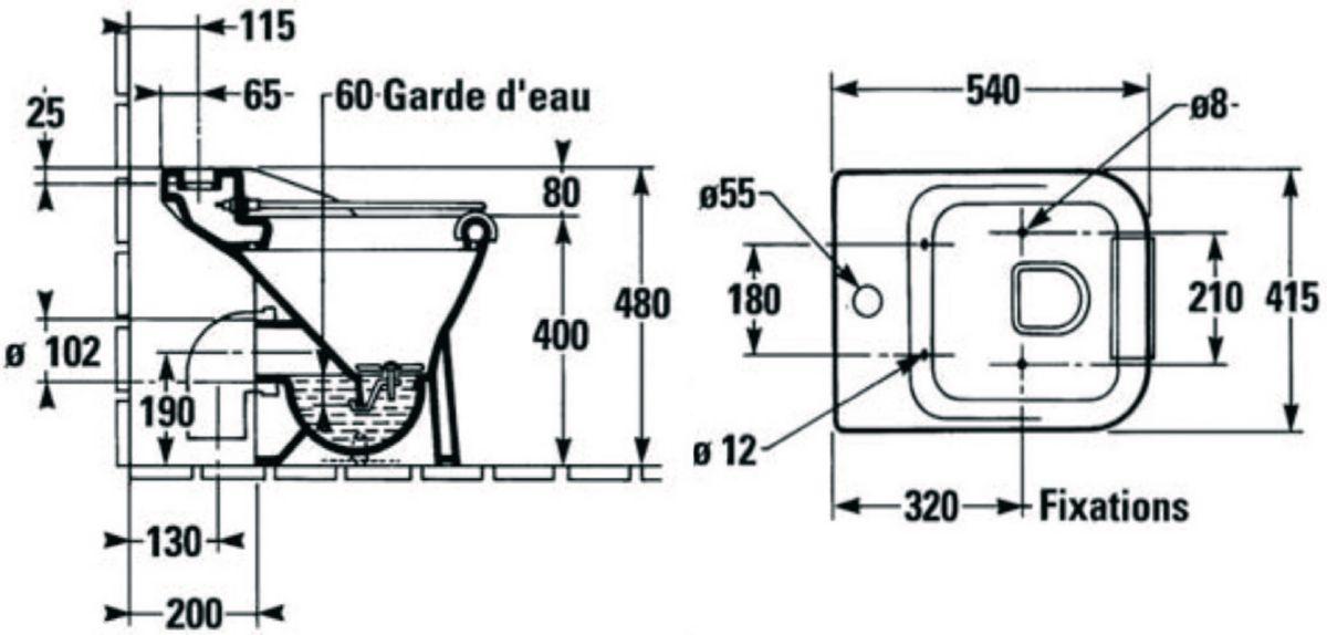 Vidoir BEAUJON 2 sortie horizontale blanc + grille mobile en inox E5546 Réf. EN445-00
