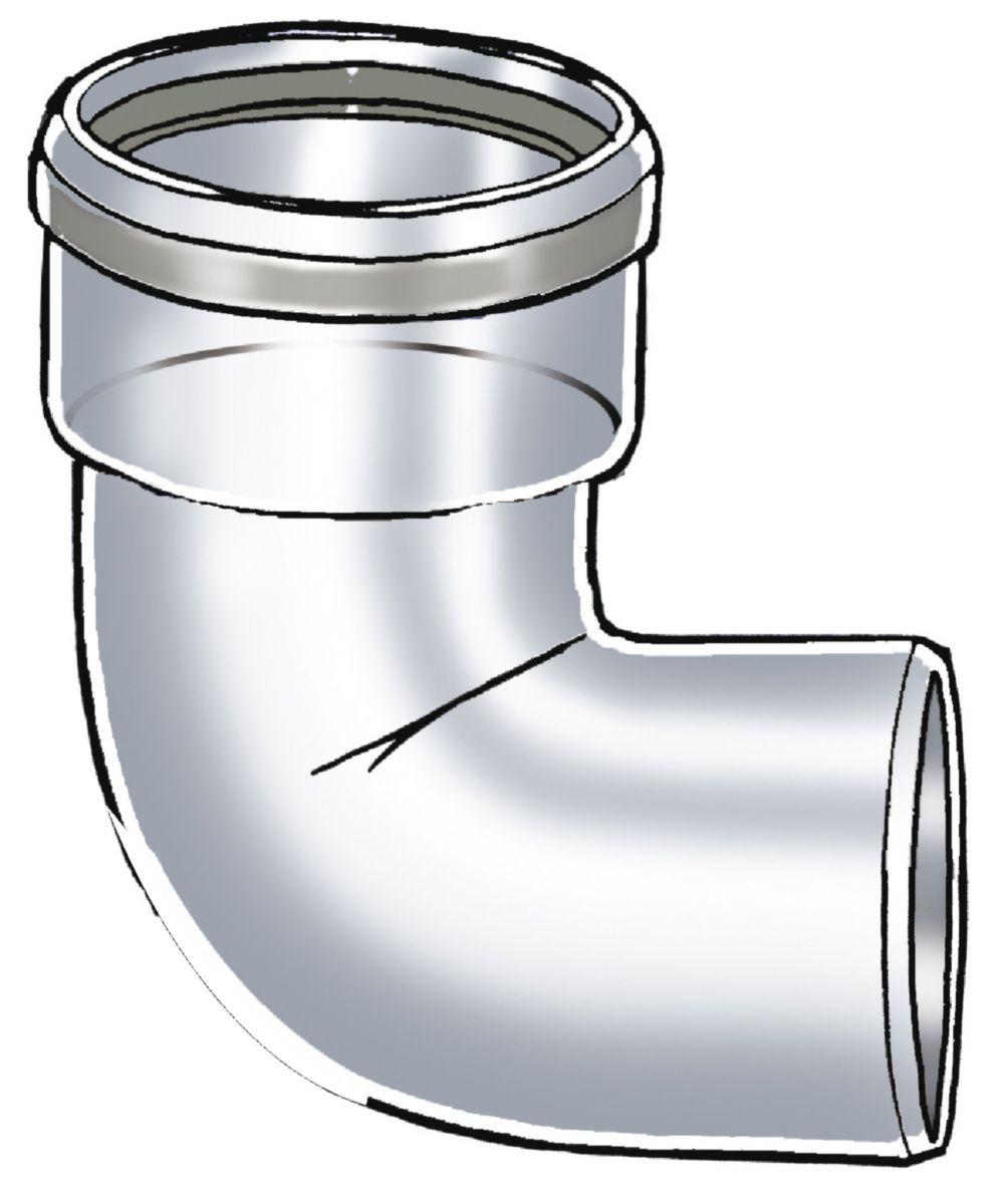 Coude 87° Chemilux Condensation B22 - B23 PPTL diamètre 80 Fioul / Gaz Blanc réf. 222955