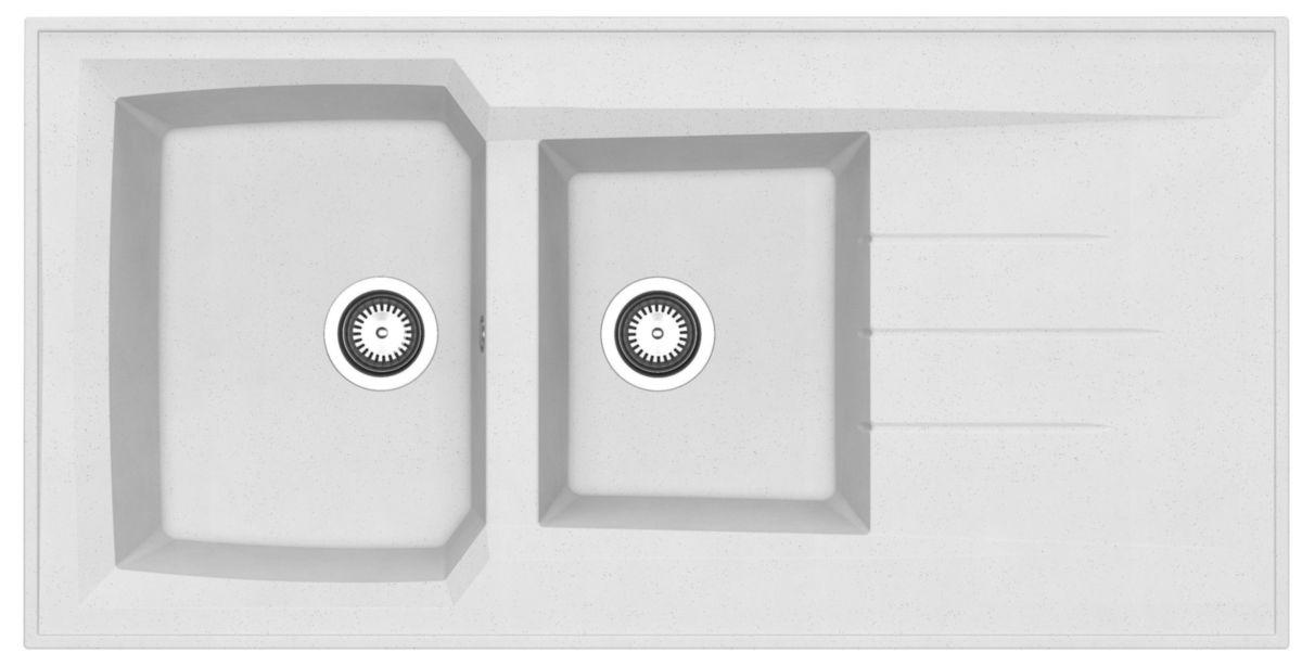 Evier à poser MONTREAL, en résine SMC colori blanc moucheté 120x60 réf.  EPBB120R03