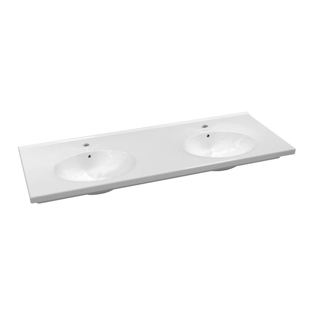 Plan de toilette céramique autoportant PRIMA de 140 x 50 cm, 2 cuves, percé  pour robinets 1 trou réf. 00135700000