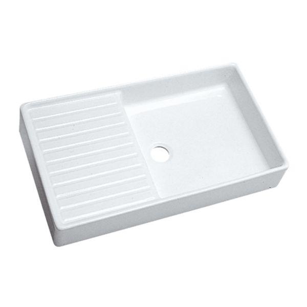 Évier céramique PUBLICA blanc, à poser, 1 cuve 1 égouttoir, sans vidage
