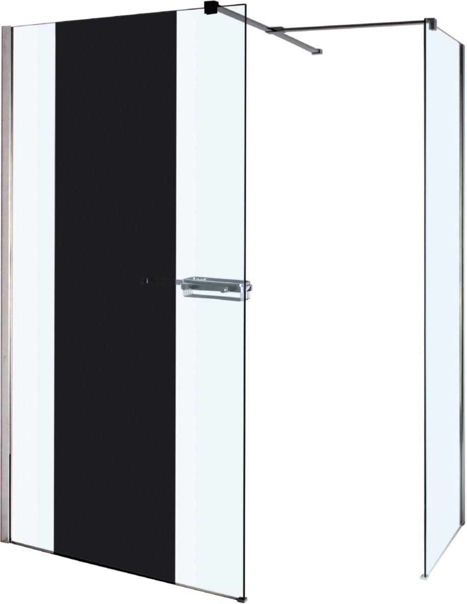 Paroi Droite Reflet Avec Miroir 120 Cm Verre 8mm Et Livrees Avec Le Raidisseur