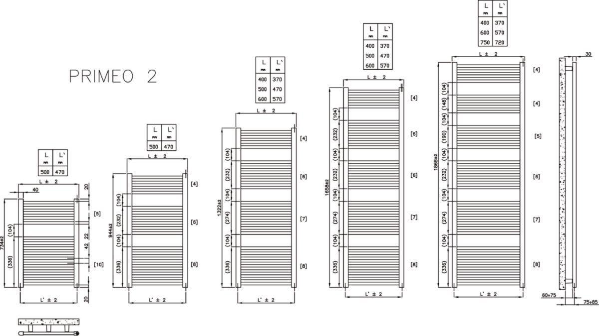 Sèche-serviettes PRIMEO 2 eau chaude 1868 x 400 mm blanc 850 watts