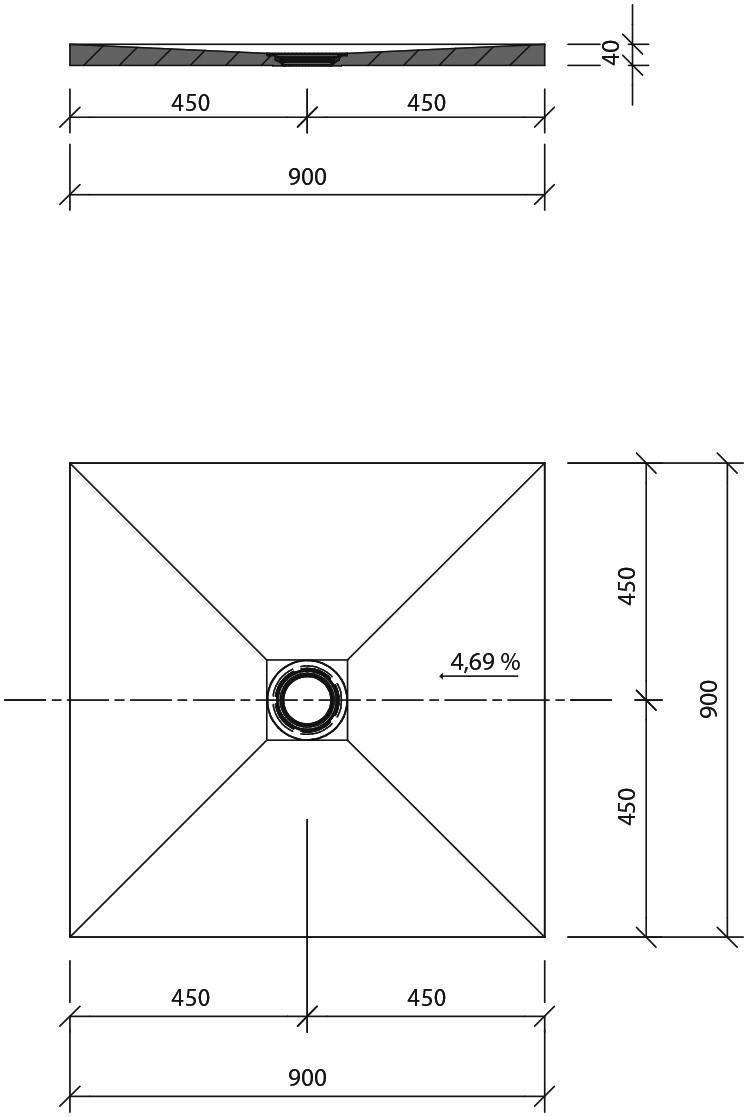 Ensemble shower-kit WEDI avec receveur 90x90 Réf. 07-37-37/100