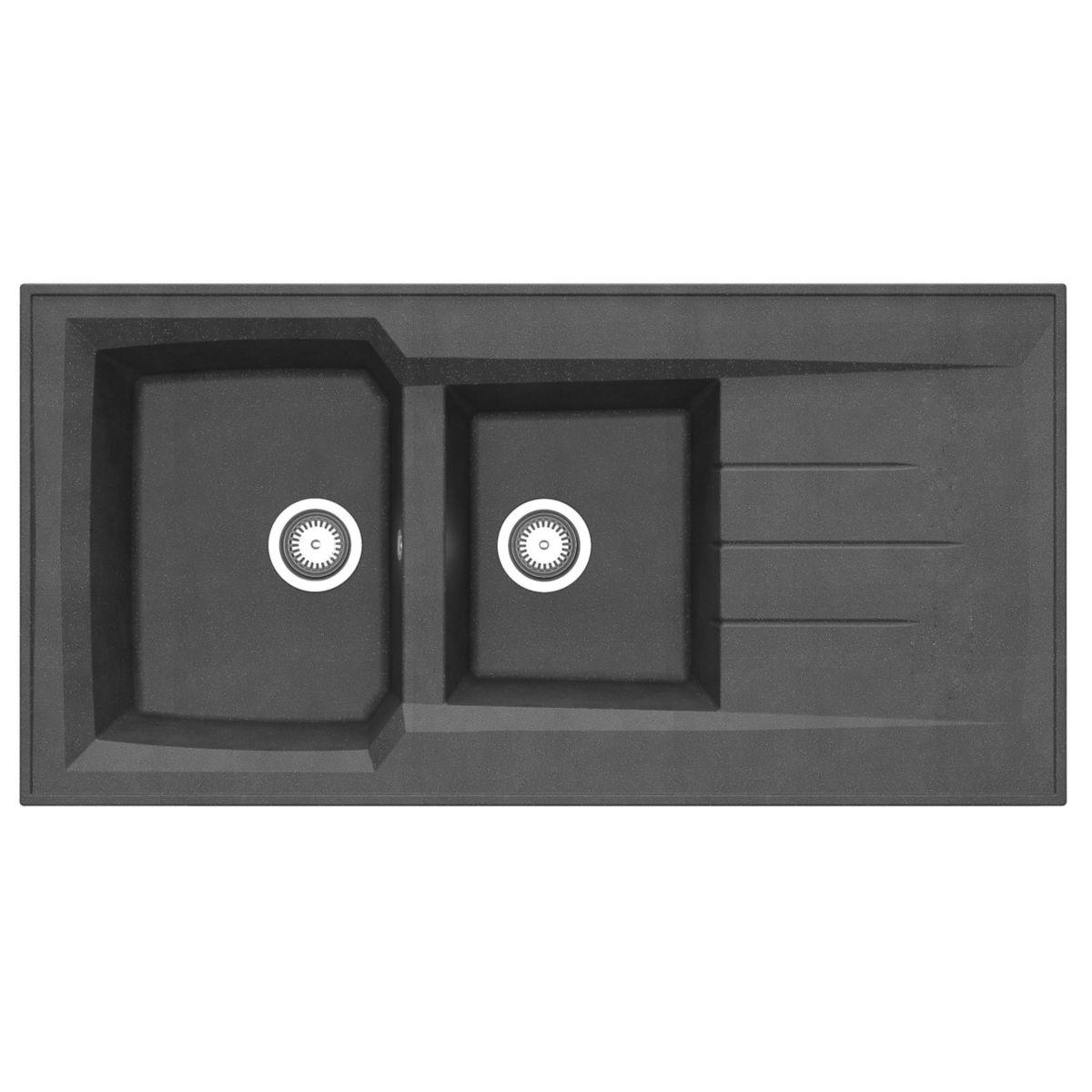 Evier à poser MONTREAL, en résine SMC colori noir pailleté 120x60 réf. EPBB120R06