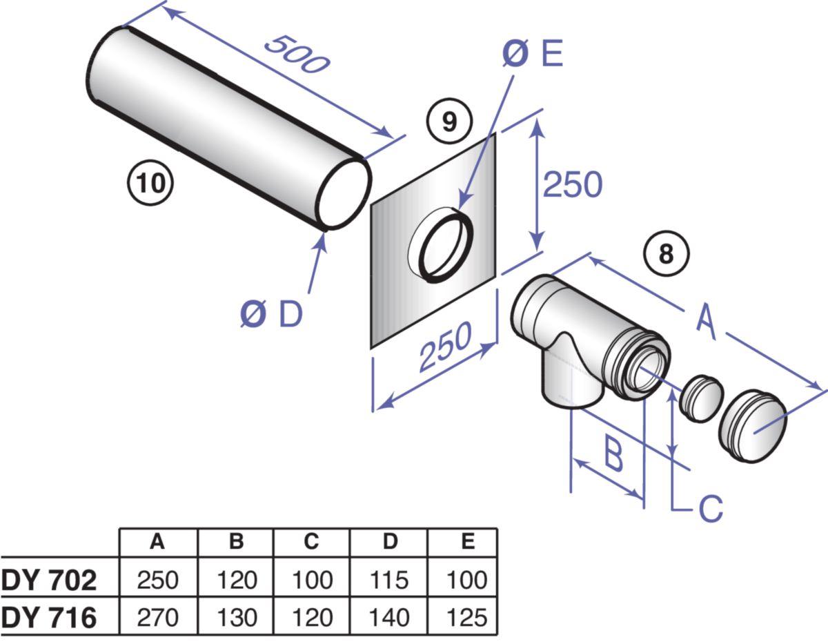 Kit de base PPS alu n°3 diamètre 80 / 125 mm colis DY716 réf. 84887716