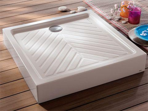 Receveur à poser carré, surélevé, extra-plat PRIMA 80 x 80 cm, céramique, blanc Réf. 00717100001