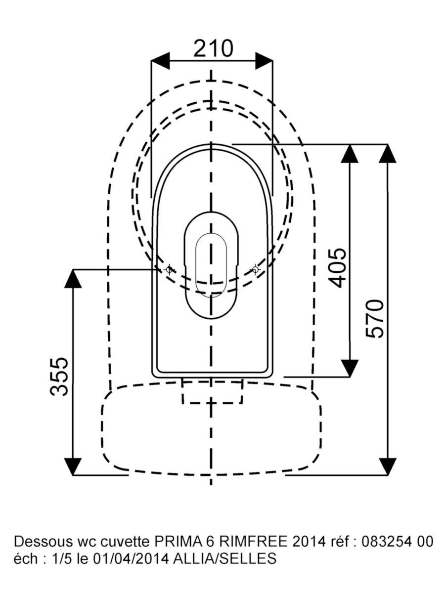 Pack wc PRIMA 6 Rimfree mécanisme général sortie horizontale abattant frein de chute - Blanc Réf. 08325400000101