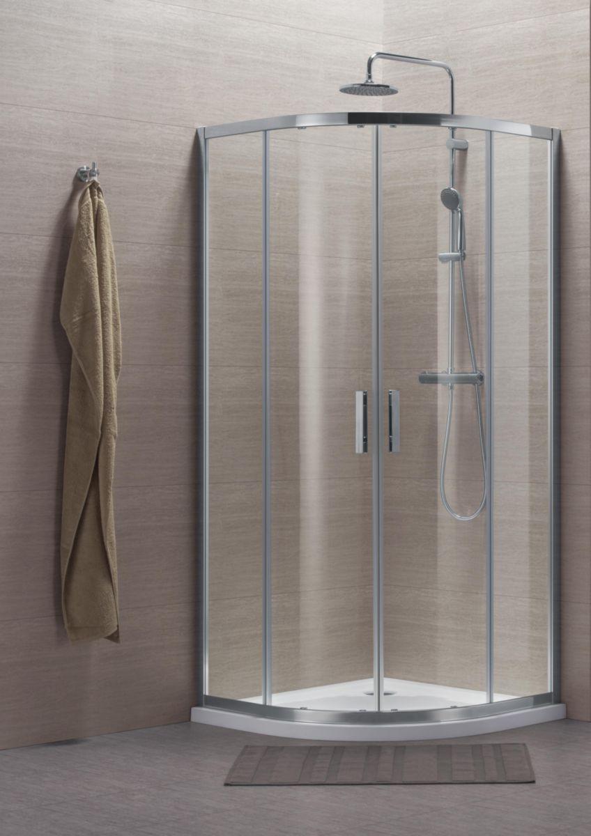 Paroi de douche Concerto quart cercle coulissant 90x90cm profilé argent brillant verre transparent