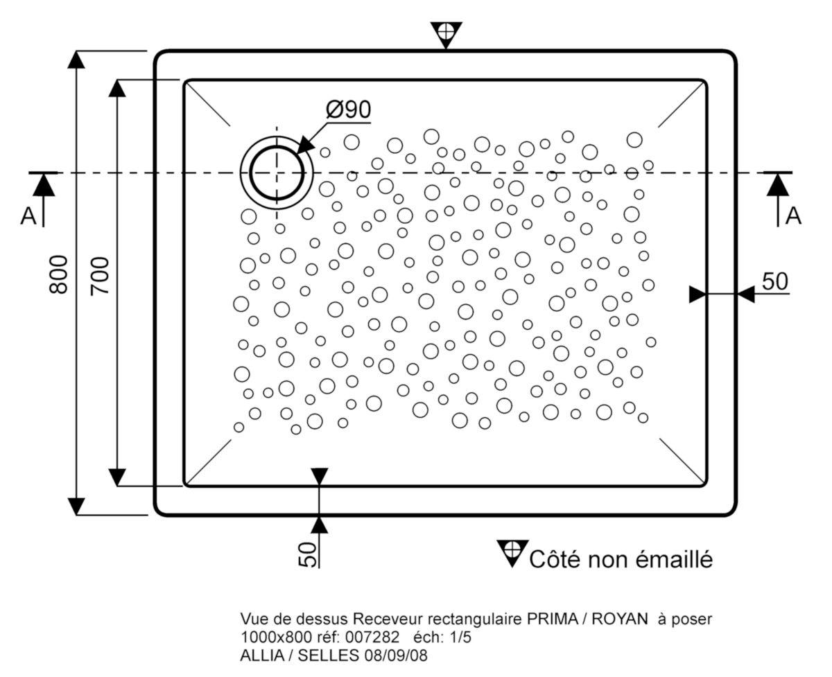 Receveur Bastia Ceramique 100 X 80 Extra Plat A Poser Avec Traitement Du Fond De Cuve Pour Bonde Siphoide De 90 Ref 00728200000001