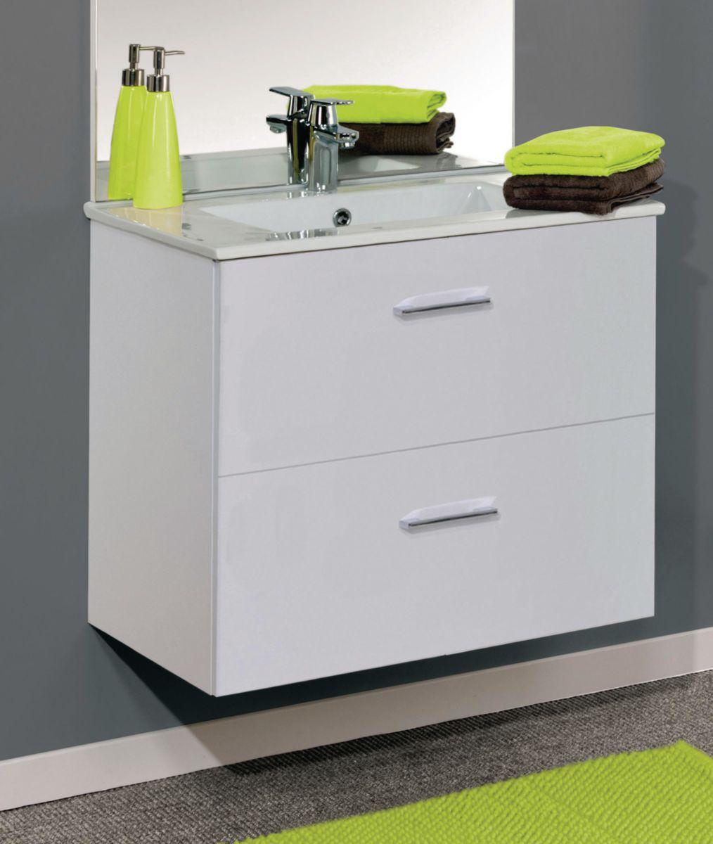 Meuble sous vasque ANGELO deux coulissants .largeur : 80 cm. Mélaminé blanc 2 faces décor 16 mm réf. A0579306