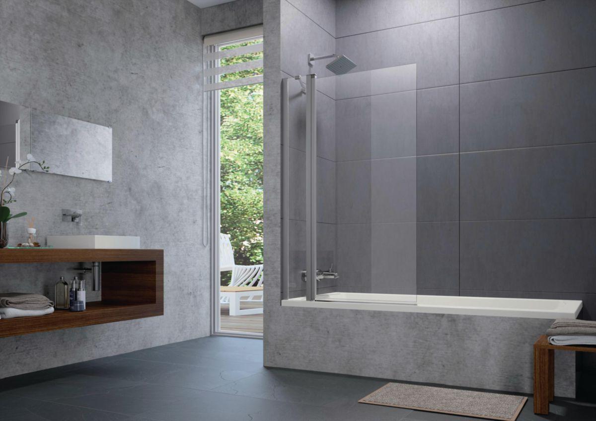Préféré Pare baignoire Design pure pare baignoire 2 éléments 1 fixe 1  GS46