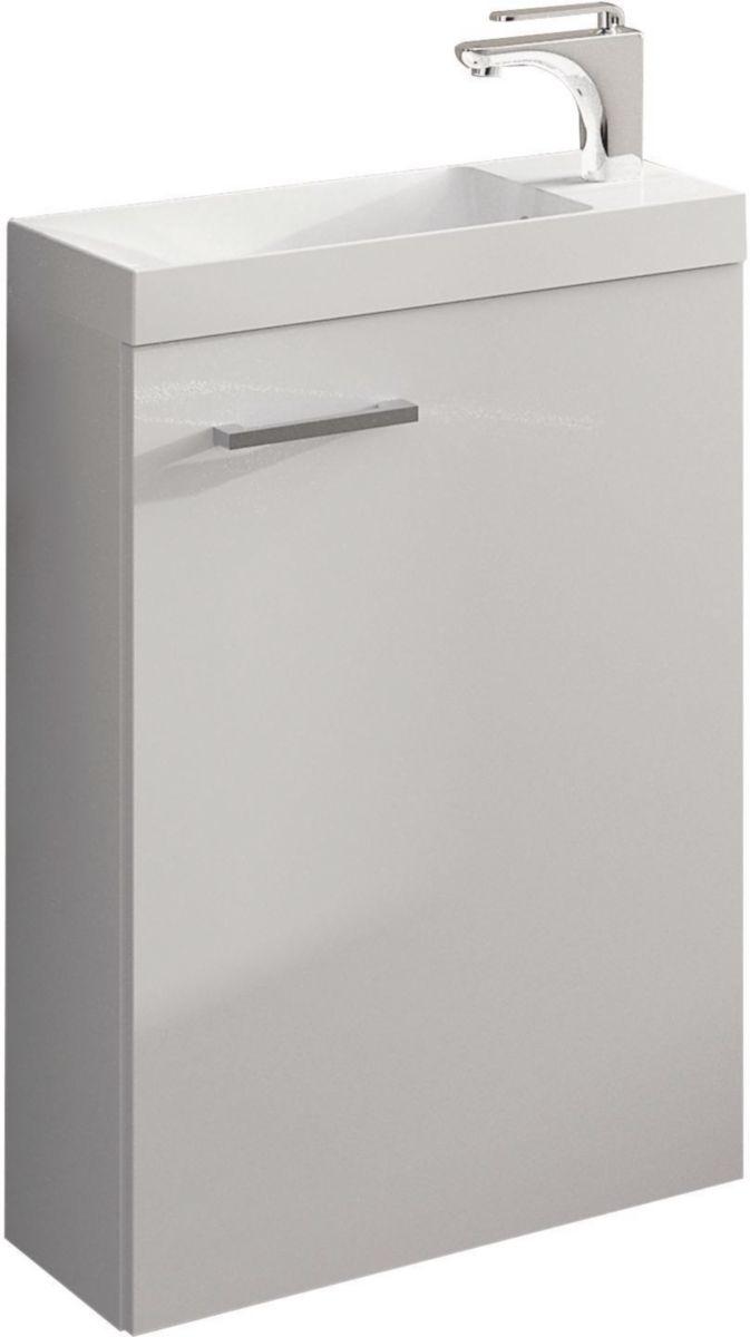 Meuble lave-mains une porte .largeur : 40 cm. Mélaminé blanc 2 faces décor 16 mm réf. A0587103