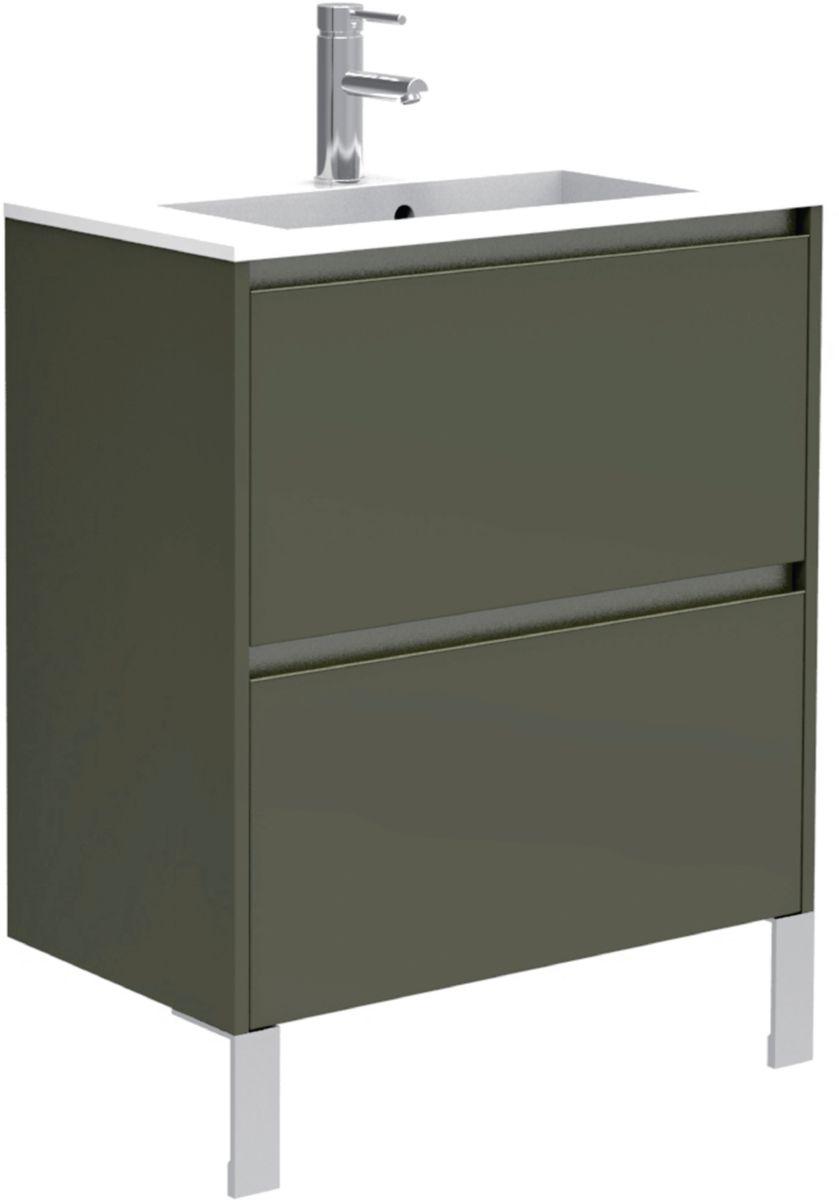 meuble sous vasque plenitude 50 cm 2 tiroirs profondeur 38 cm blanc poign e noire alterna. Black Bedroom Furniture Sets. Home Design Ideas
