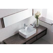 Vasque poser domino rectangulaire 49x38 cm avec plage de robinetterie sans - Point p robinetterie ...