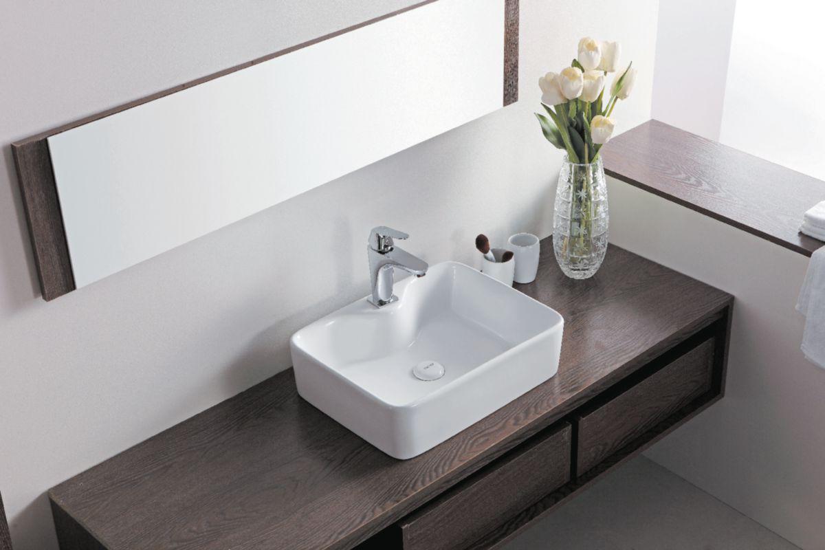 Vasque à poser Domino rectangulaire 49 x 38 cm avec plage de robinetterie sans trop plein