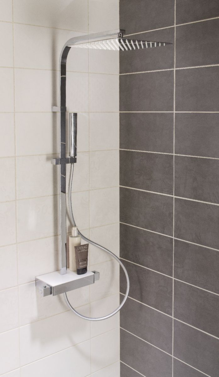 Colonne Douche Avec Mitigeur Thermostatique Domino Chrome Alterna