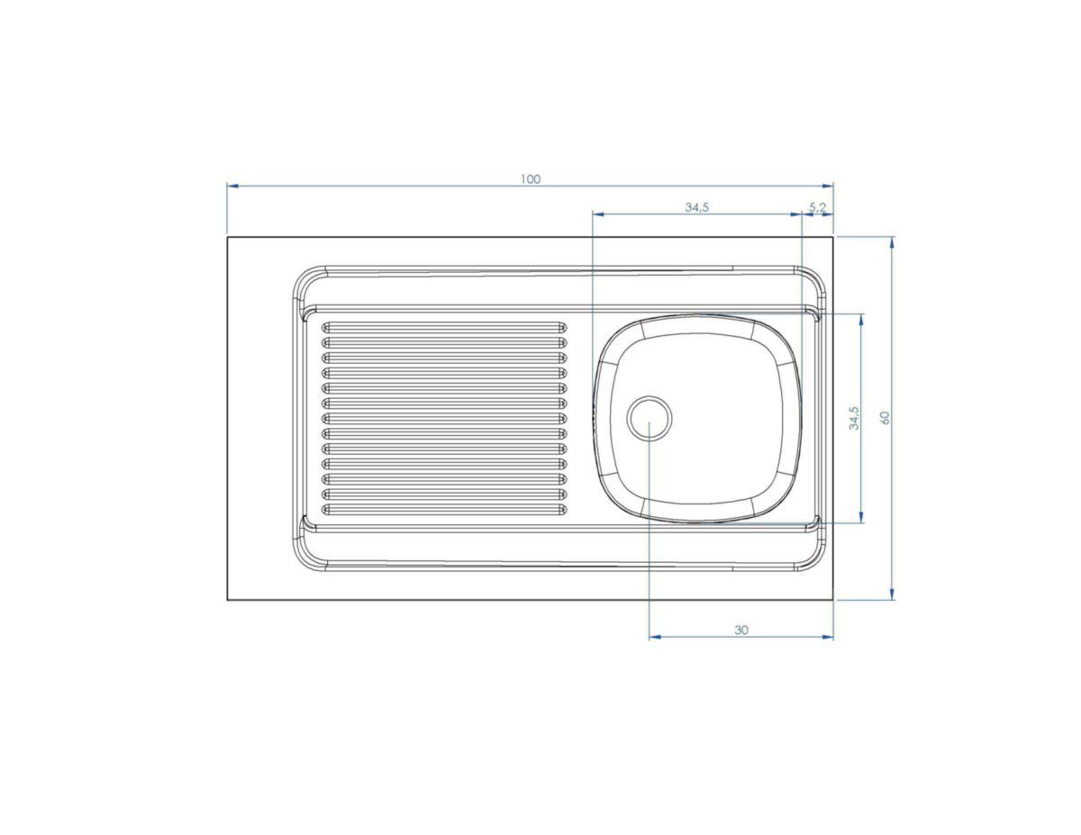 Evier à poser en inox 18 10,largeur 100cm, hauteur 3 cm, 1 cuve ... bc11a453f8b6