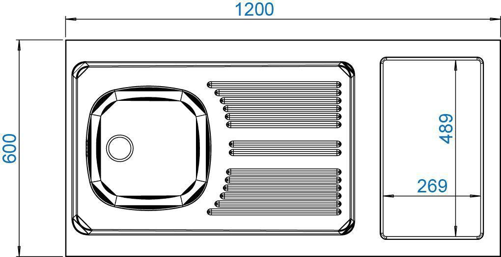Moderna evier cuisinette en inox 18 10 hauteur 5 cm 1 cuve d coupe pour domino vidage - Cuisinette moderna ...