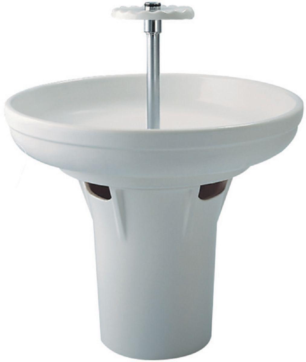 Awesome pied pour lavabo circulaire hauteur cm blanc rf p for Evier tradition villeroy et boch