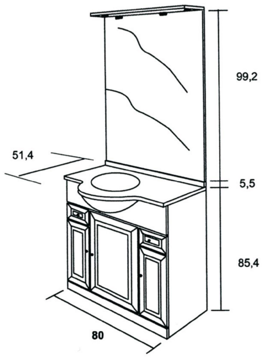 Alterna meuble sous vasque tolede 2 blanc 80 cm 3 portes 2 tiroirs pour plan c ramique cedeo - Meuble vasque 80 ...