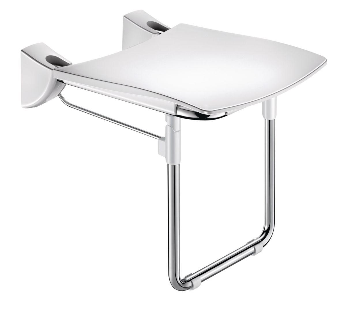 Siège de douche inox relevable avec pied, assise grand confort nylon HR inox poli brillant réf. 510430